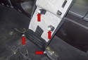 B-pillar trim: This photo shows all four of the trim clips you have to detach (red arrows).