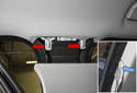 B-pillar trim: When installing, be sure the upper mounting tabs (red arrows) are properly aligned with the trim panel holes.