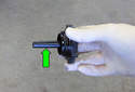 Bleeding power steering pump: Before starting the engine, fill the power steering reservoir with clean fluid to the MAX level on the dipstick.