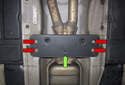 Next, move forward on the exhaust to the center reinforcement (green arrow).