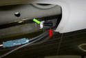 Third Brake Light: The locking tabs (red arrow) may stay on the rear window (green arrow).