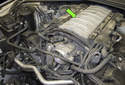 In this tech article, I will go over how to replace the intake manifold (green arrow) on an N62 8-cylinder engine.