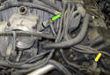 Next, remove the purge solenoid (yellow arrow) hose from the intake manifold.