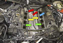 With the intake manifold removed you can now replace the intake manifold gaskets (green arrows).