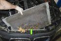To remove the radiator, pull it out of the radiator support upward and out of the engine compartment.