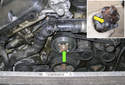 The water pump (green arrow) on M54 6-cylinder engine models is located at the front of the engine.