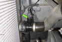 The radiator outlet temperature sensor (green arrow) might be the cause of a hard to find coolant leak.