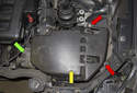 To remove the DISA valve, remove the air filter housing assembly (yellow arrow).