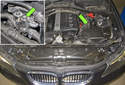 This photo shows the location of the heater control valve (green arrows).