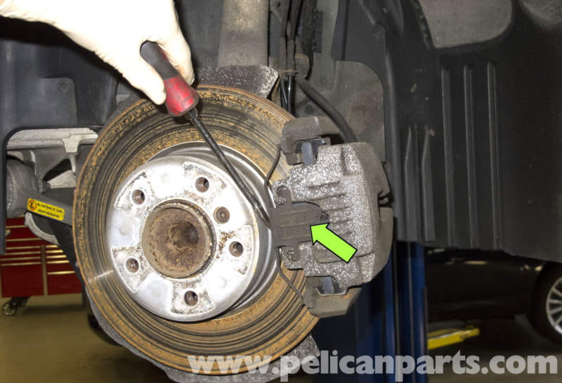bmw e60 5 series brake pad replacement 2003 2010 pelican parts technical article. Black Bedroom Furniture Sets. Home Design Ideas