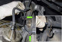 Front sensor: Then remove the sensor wiring harness from the mounts (green arrows) on the strut by pulling them straight out (inset).