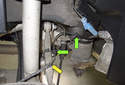 Rear sensor: Then remove the sensor wiring harness from the mounts (green arrows) on the control arm by pulling them straight out.