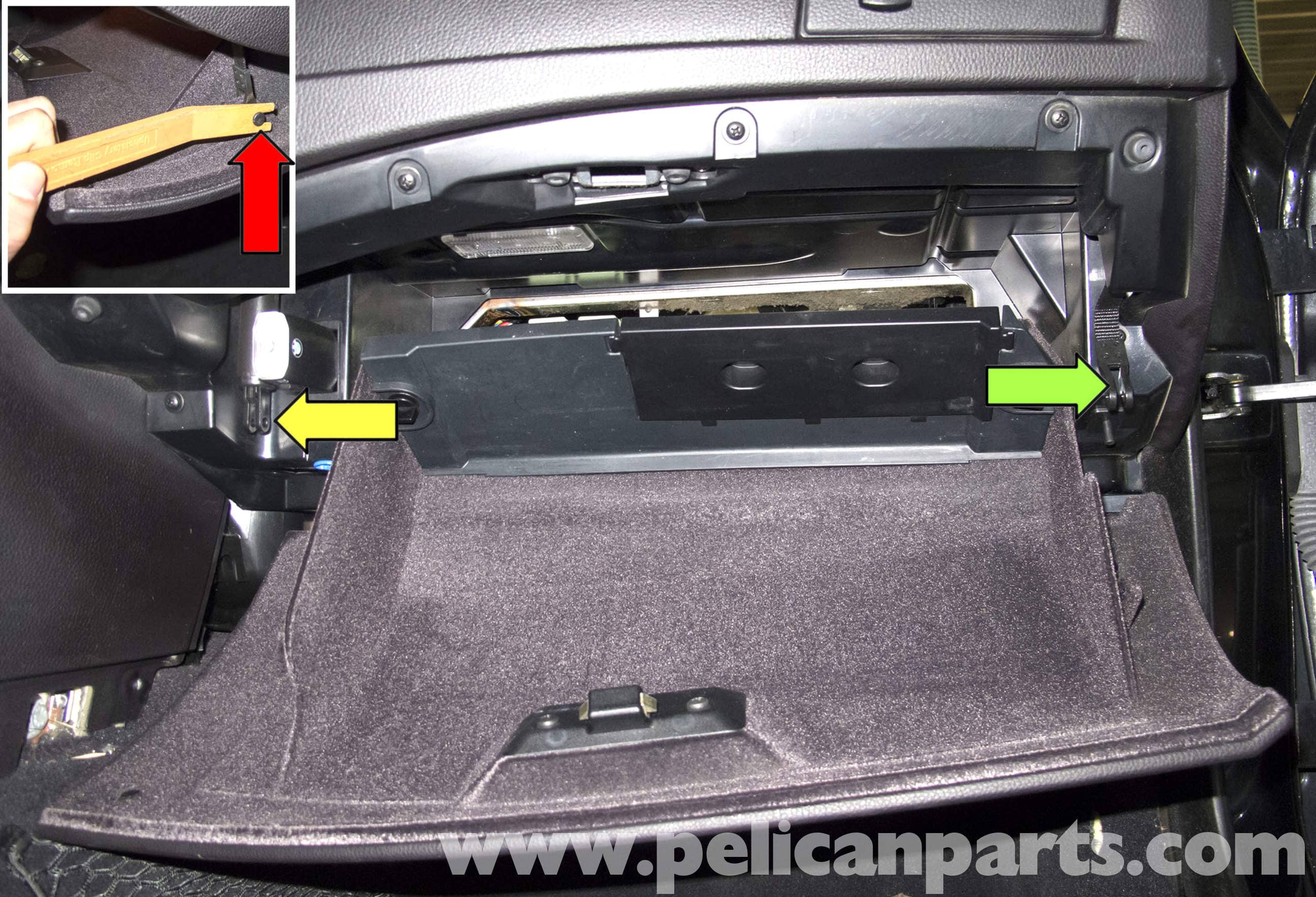 bmw e60 5 series glove box replacement 2003 2008 pelican parts rh pelicanparts com bmw e60 front fuse box bmw e60 fuse box trunk