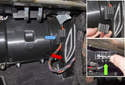 Front air flap: With the center compartment duct removed, remove the right side air duct (red arrow).