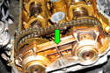 Variable camshaft timing (VANOS): VANOS is the BMW term for variable camshaft timing (green arrow).