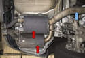 When replacing the mufflers (red arrows) on your BMW E60, they will come as a pair.