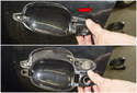 Slide the door handle trim in the direction of the red arrow to remove it.
