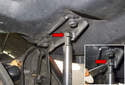 Hood Support Struts: Working at the top of the support strut, use a small flathead screwdriver and move the retaining spring (red arrow) up to the top of the socket.
