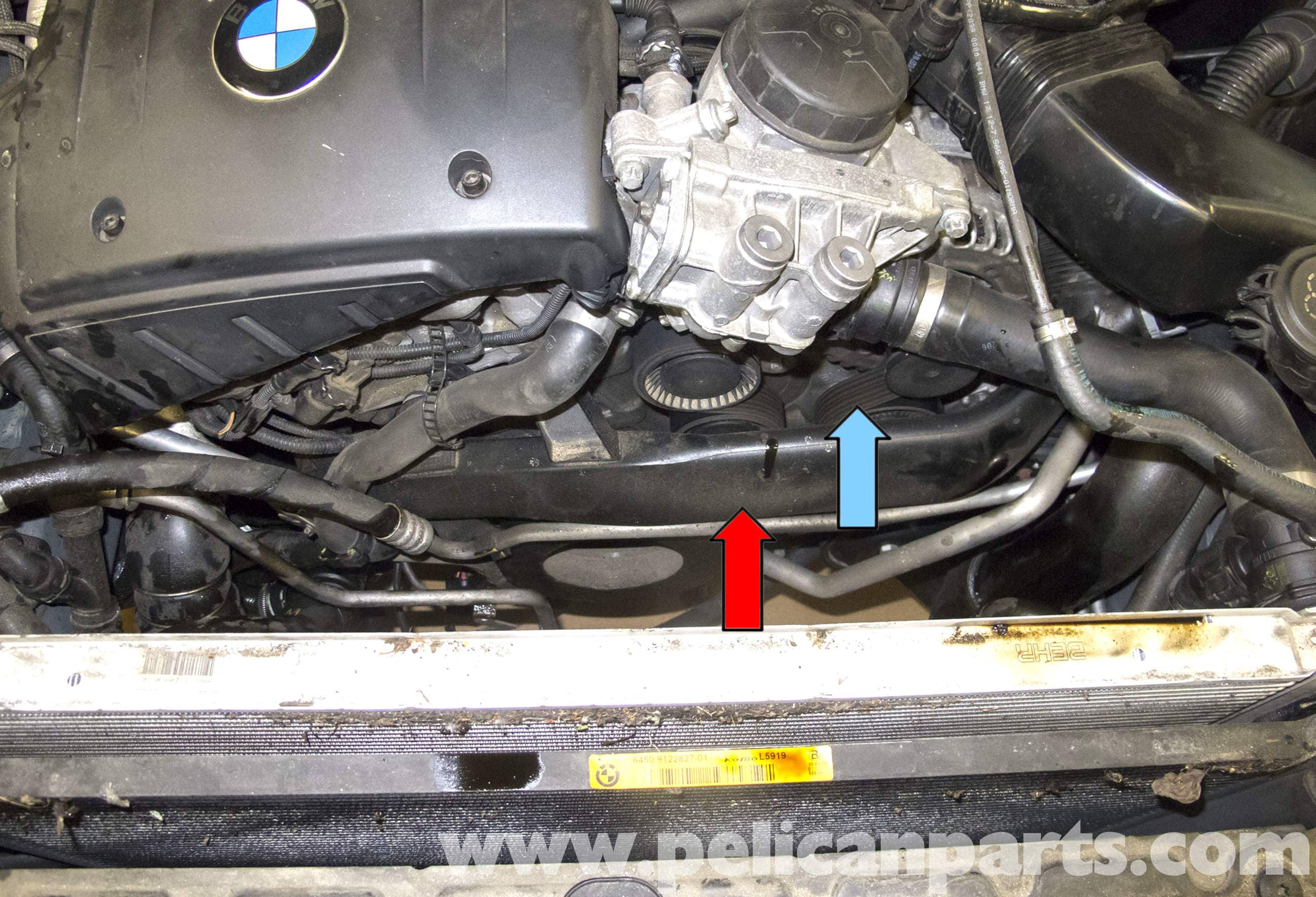 pic01 bmw e60 5 series drive belt, tensioner, idler replacement (n54