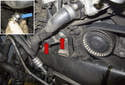 Front intake charge air duct: Remove the radiator cooling fan and the upper radiator hose.