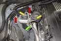 Turbocharger outlet pipes: Working at the vacuum reservoir, mark the vacuum line locations.