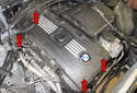 Remove the engine cover 4mm Allen fasteners (red arrows) and cabin microfilter housing.