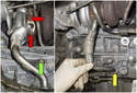 Working below the engine on the right side, remove the two T30 Torx oil return line fasteners (red arrows).