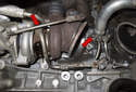 Now it is time to remove the lower coolant line from the rear turbocharger.