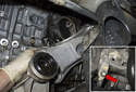 Position the engine mount bracket so you can unbolt the ground cable.