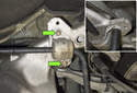 Rear sway bar links: Working at the front subframe, remove the two 13mm sway bar bushing bracket fasteners (green arrows).
