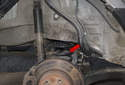 The rear coil springs on X3 models have a tendency to break at the last two lower turns of the spring (red arrow).
