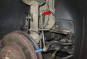 Front sway bar links: The front sway bar link connects the strut (red arrow) to the sway bar (blue arrow).