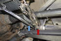 Rear sway bar links: This photo shows the wrench (blue arrow) and vise grips in place (red arrow).
