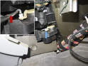 Next, remove the HVAC door rod from the actuator (blue arrow).
