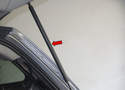 Tailgate Support Struts: When replacing the tailgate support struts (red arrow), I find it easiest to start by disconnecting the upper spring clip, then the lower.
