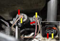 The black wire (red arrows) (sometimes with a tracer color) is the battery volt feed.