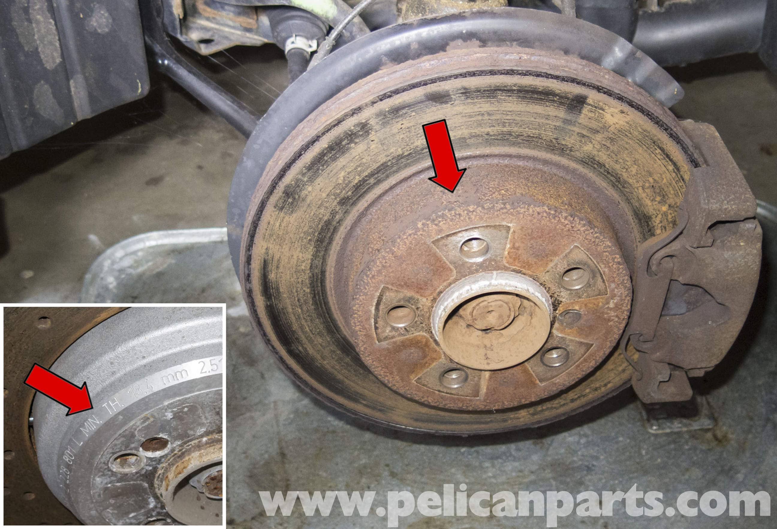 Minimum Thickness For Brake Pads : Pelican technical article bmw brake rotor