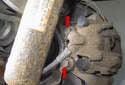 Rear: Working behind brake caliper.