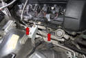 Exhaust manifolds and oxygen sensors: Oxygen sensor signals are used by the ECM to control fuel delivery.