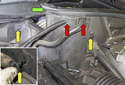 Working at the left rear corner of the engine compartment, remove the weatherstrip by pulling it straight up (green arrow).