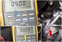 Monitor the DVOM for voltage to fluctuate from 5 volts (blue arrow) to zero volts (yellow arrow) as the engine rotates.