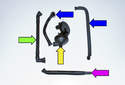 Crankcase breather parts: Pipe to valve cover (green arrow), Crankcase breather (yellow arrow), Drain hose (purple arrow), Pipes to intake manifold (blue arrows).