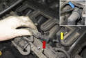 After the small pipe (red arrow) is removed, disconnect breather pipe (yellow arrow) from intake manifold.