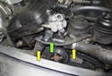 When replacing the thermostat (green arrow), I suggest replacing both coolant hoses (yellow arrows) that connect to it.