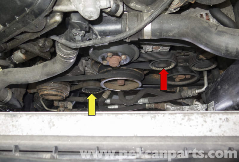 this photo shows both drive belts from above