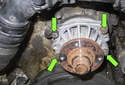 Remove the four 10mm water pump mounting nuts (green arrows).