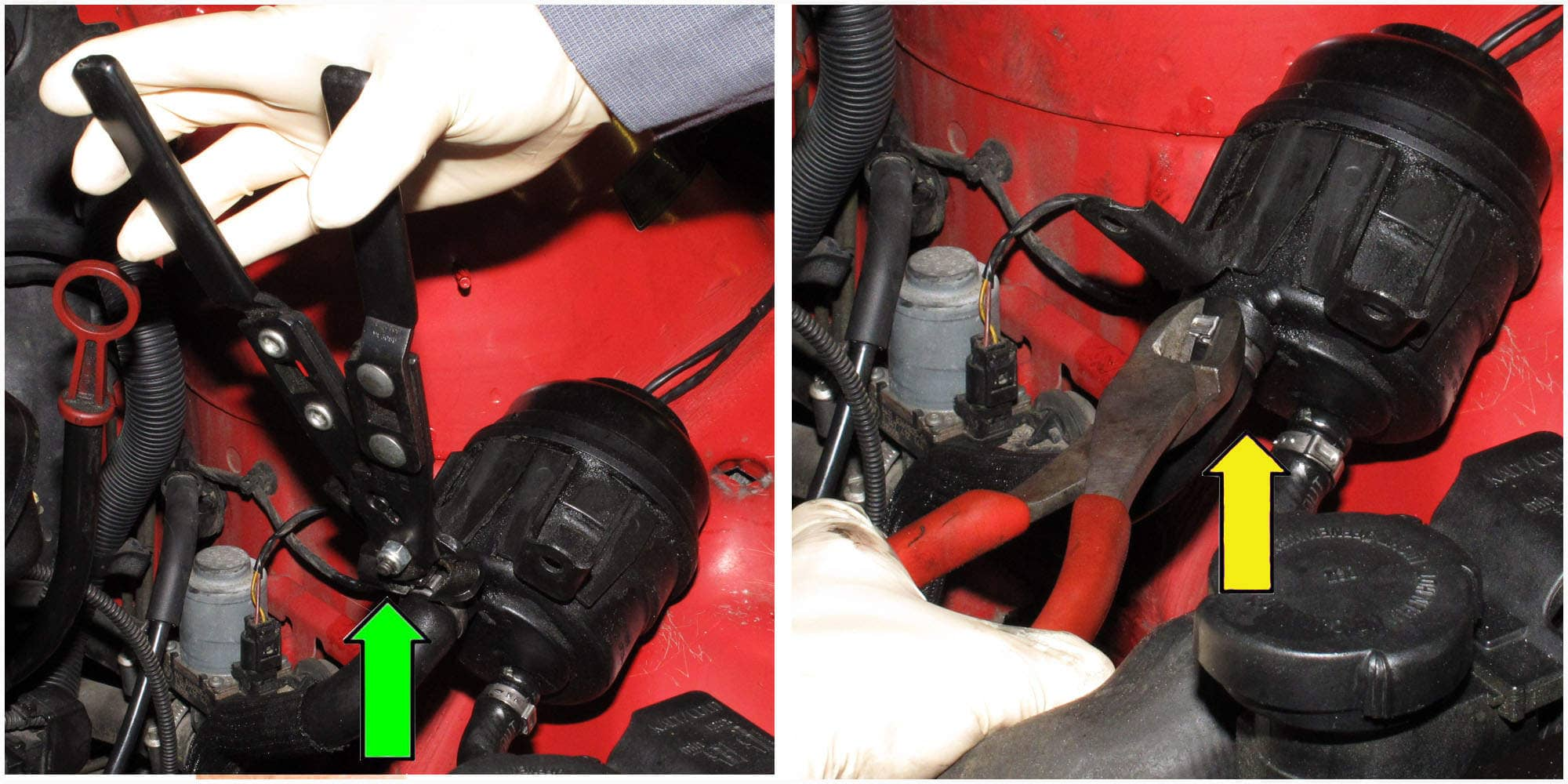 Crimp the hose clamps using the clamp pliers (green arrow) or a pair of diagonal pliers (yellow arrow).