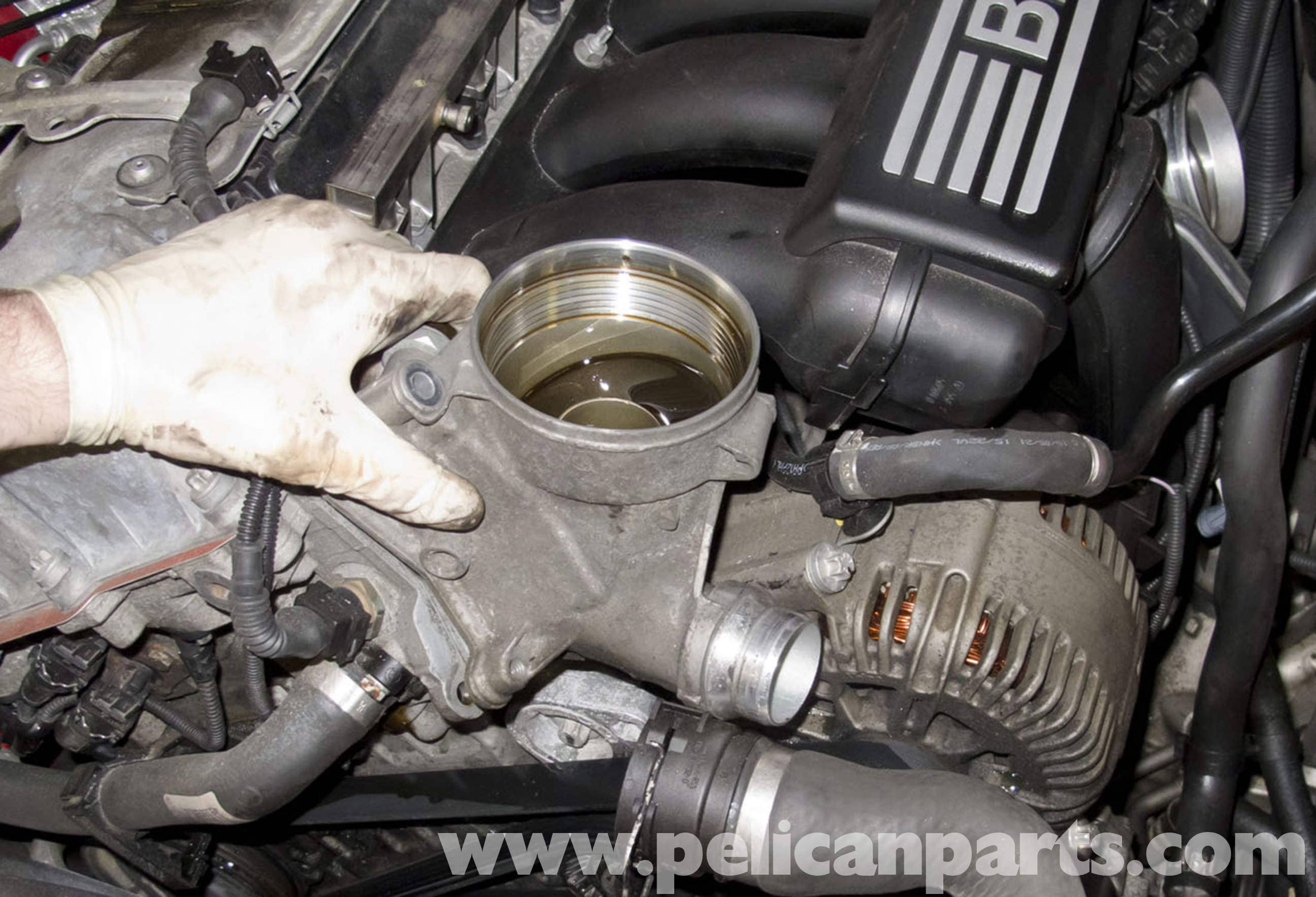 Oil Filter Housing Gasket >> Pelican Parts Technical Article - BMW-X3 - N52 Engine Oil Filter Housing Gasket Replacement