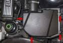 Unclip the four air filter housing retaining clips (red arrows).