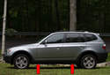 BMW X3 models have 4 solid plastic jacking pads, slightly behind front wheels and slightly in front of rear wheels (red arrows).